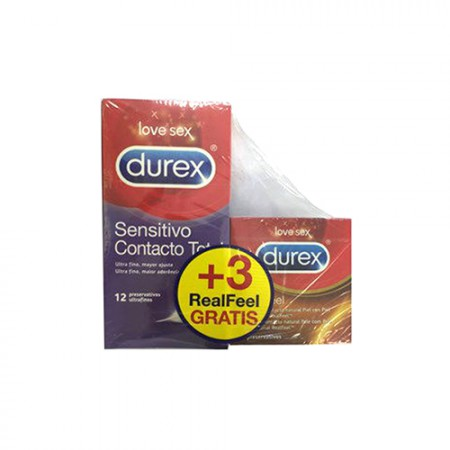 DUREX SENSITIVO CONTACTO TOTAL 12U + 3 REAL FEEL