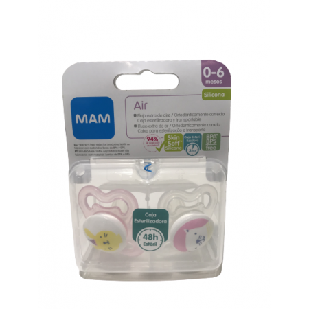 MAM CHUPETE AIR 0- 6 M SILICONA PACK DOBLE